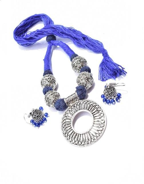 Threaded German Silver Necklace Set -Blue