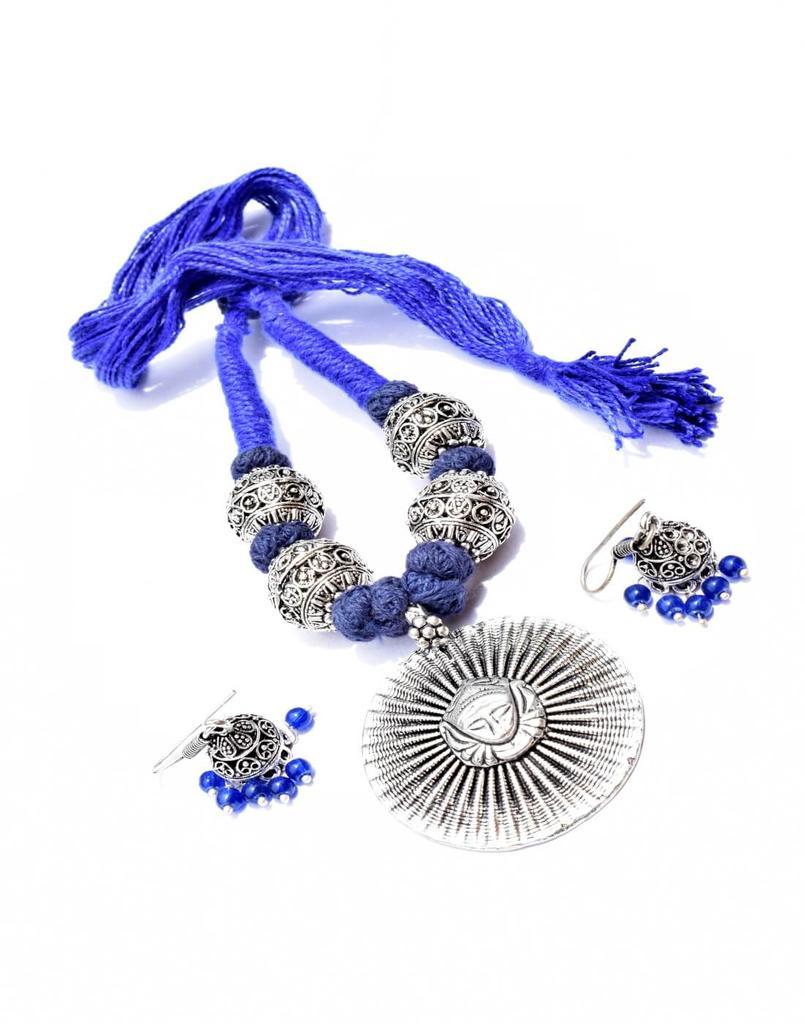 Threaded German Silver Necklace Set -Sun Style Blue