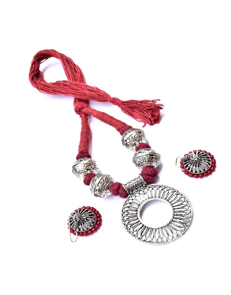 Threaded German Silver Necklace Set -Maroon