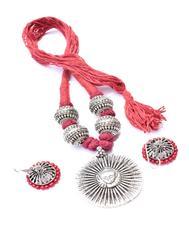 Threaded German Silver Necklace Set -Maroon