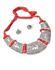 Threaded German Silverr Hansuli and Jhumka Set- Red Pattern 2