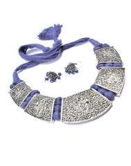Threaded German Silverr Hansuli and Jhumka Set- Blue Pattern 3