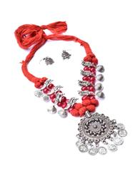 Threaded German Silver Necklace Set with Jhumki/Jhumka-Red