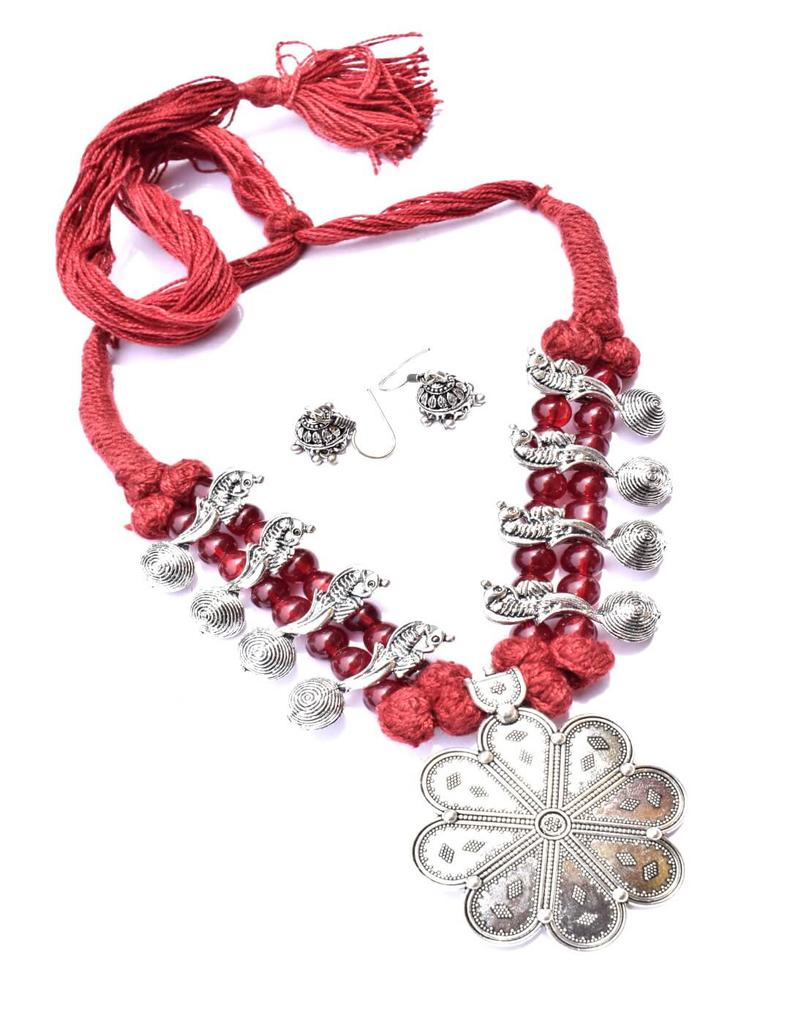 Threaded German Silver Necklace Set with Jhumki/Jhumka-Maroon