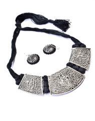 Threaded German Silverr Hansuli and Jhumka Set- Black Pattern 4