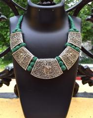 Threaded German Silver Hansuli Necklace/Pandent- Krishna Pattern Green
