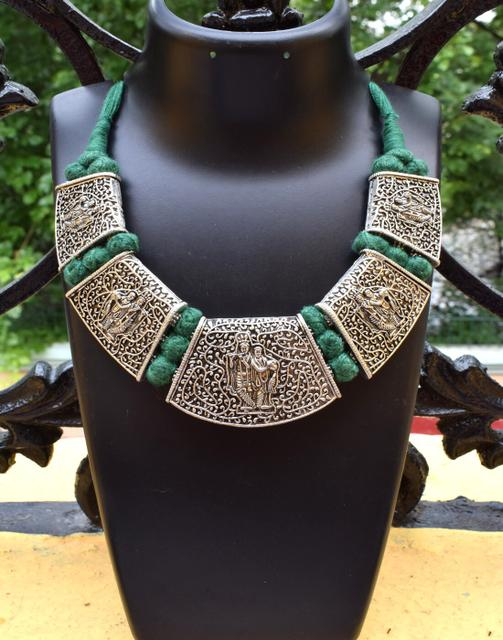 Threaded German Silver Hansuli Necklace/Pandent- Krishna Pattern Green