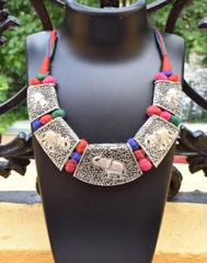 Threaded German Silver Hansuli Necklace/Pandent- Elephant Pattern
