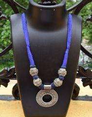 Threaded German Silver Necklace- Round Pendant Blue