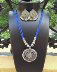 Oxidized Metal Threaded Necklace Set - Blue