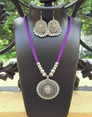 Oxidized Metal Threaded Necklace Set - Mauve