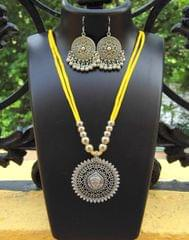 Oxidized Metal Threaded Necklace Set -Yellow