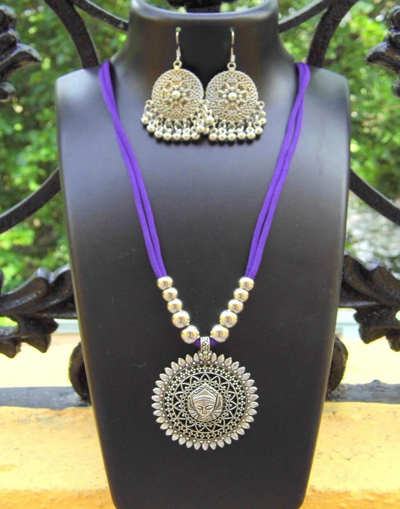 Oxidized Metal Threaded Necklace Set - Purple