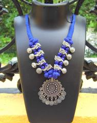 Threaded German Silver Necklace-  Blue