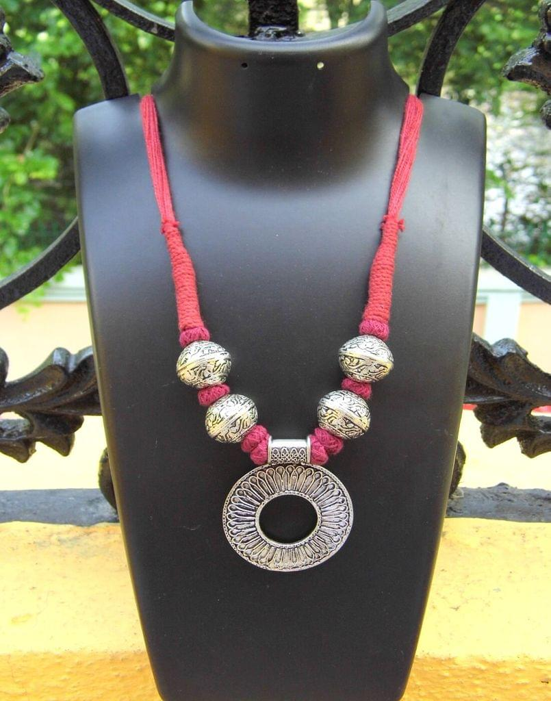 Threaded German Silver Necklace- Round Pendant Maroon