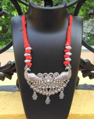 Threaded German Silver Necklace-Peacock Pendant Red
