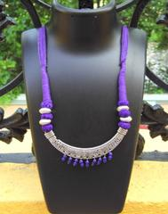 Threaded German Silver Necklace-Fish Pattern Purple