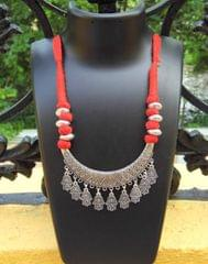 Threaded German Silver Necklace- Moon Style Pandant Red