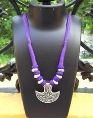 Threaded German Silver Necklace Anchor Shape Pendant-Purple