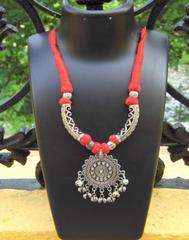 Threaded German Silver Hansuli Necklace- Round Pendant Blue