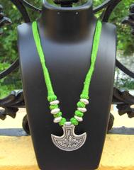 Threaded German Silver Necklace Anchor Shape Pendant-Green