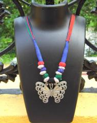 Threaded German Silver Necklace-Butterfly Pendant Multicolor