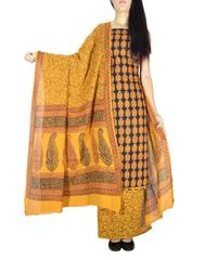 Unstitched Cotton Bagh Print Salwar Suit-Yellow&Black