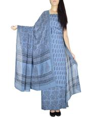 Unstitched Cotton Bagh Print Salwar Suit-Blue