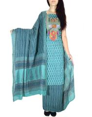 Unstitched Cotton Bagh Print Salwar Suit-Sea Green