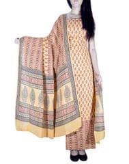 Unstitched Cotton Bagh Print Salwar Suit-Multicolor