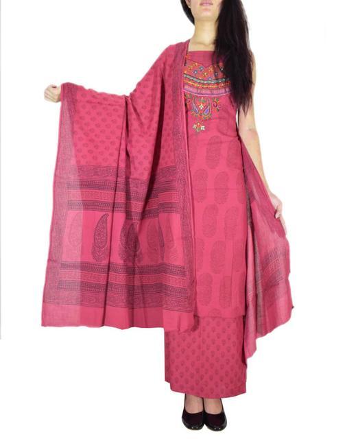 Unstitched Cotton Bagh Print Salwar Suit-Red