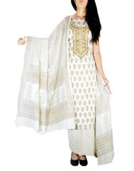 Unstitched Cotton Bagh Print Salwar Suit-White