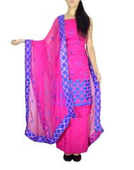Unstitched Phulkari Suit Piece Cotton Silk-Pink