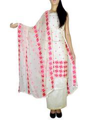 Unstitched Phulkari Suit Piece Cotton Silk-Offwhite&Pink