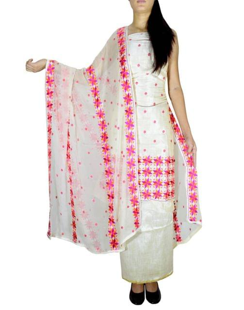 Unstitched Phulkari Suit Piece Cotton Silk-Offwhite&Pink