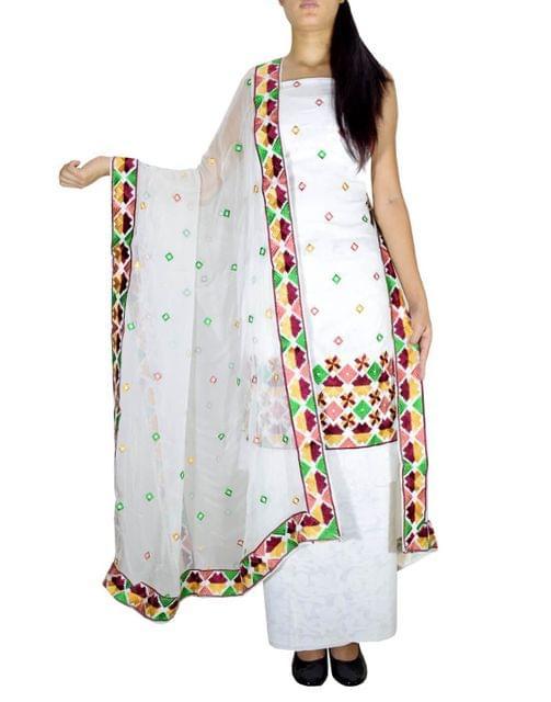 Unstitched Phulkari Suit Piece Cotton Silk-Multicolor