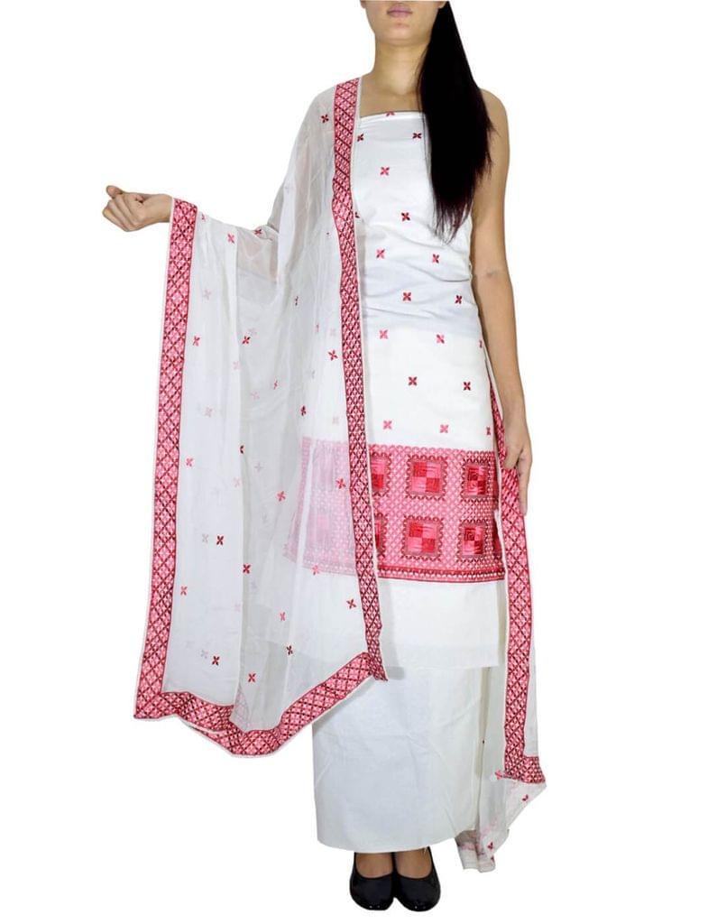 Unstitched Phulkari Suit Piece Cotton Silk-Red&White