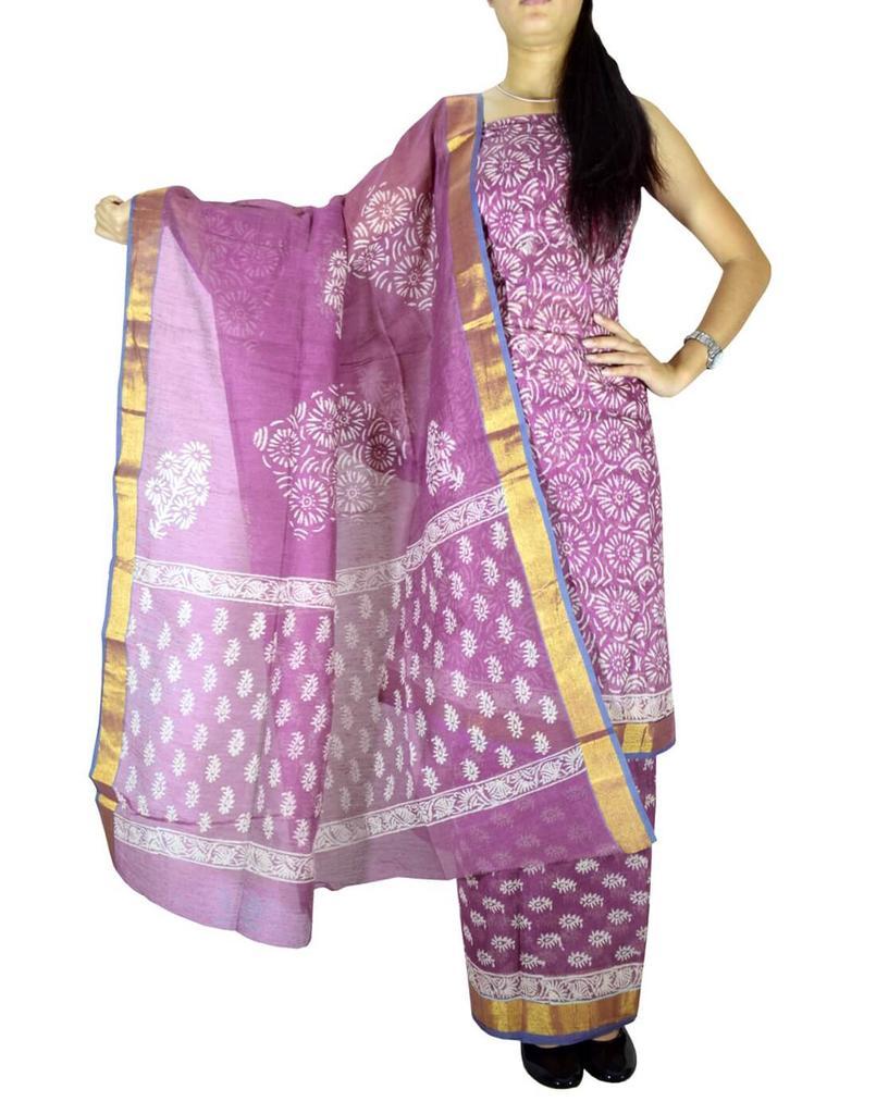 Unstitched Kota Cotton Silk Blockprint Salwar Suit-Mauve