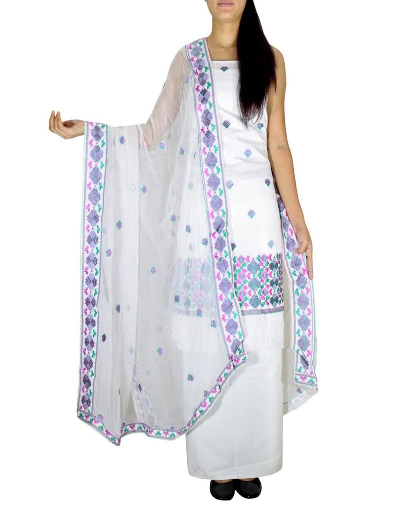Unstitched Phulkari Suit Piece Cotton Silk-Green&Pink