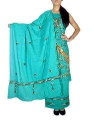 Unstitched Kantha Work Cotton Salwar Suit - Sea Green