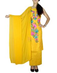 Unstitched Kashmiri Silk Embroidery Salwar Suit-Yellow
