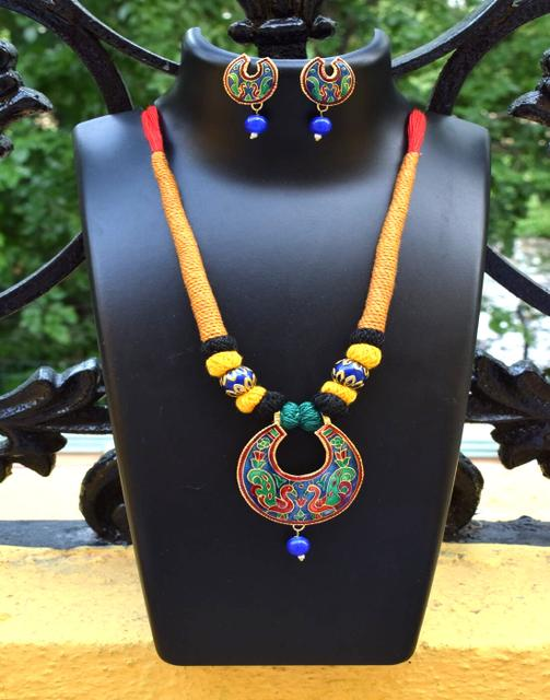 Threaded Meenakari Necklace Set- Pattern 15