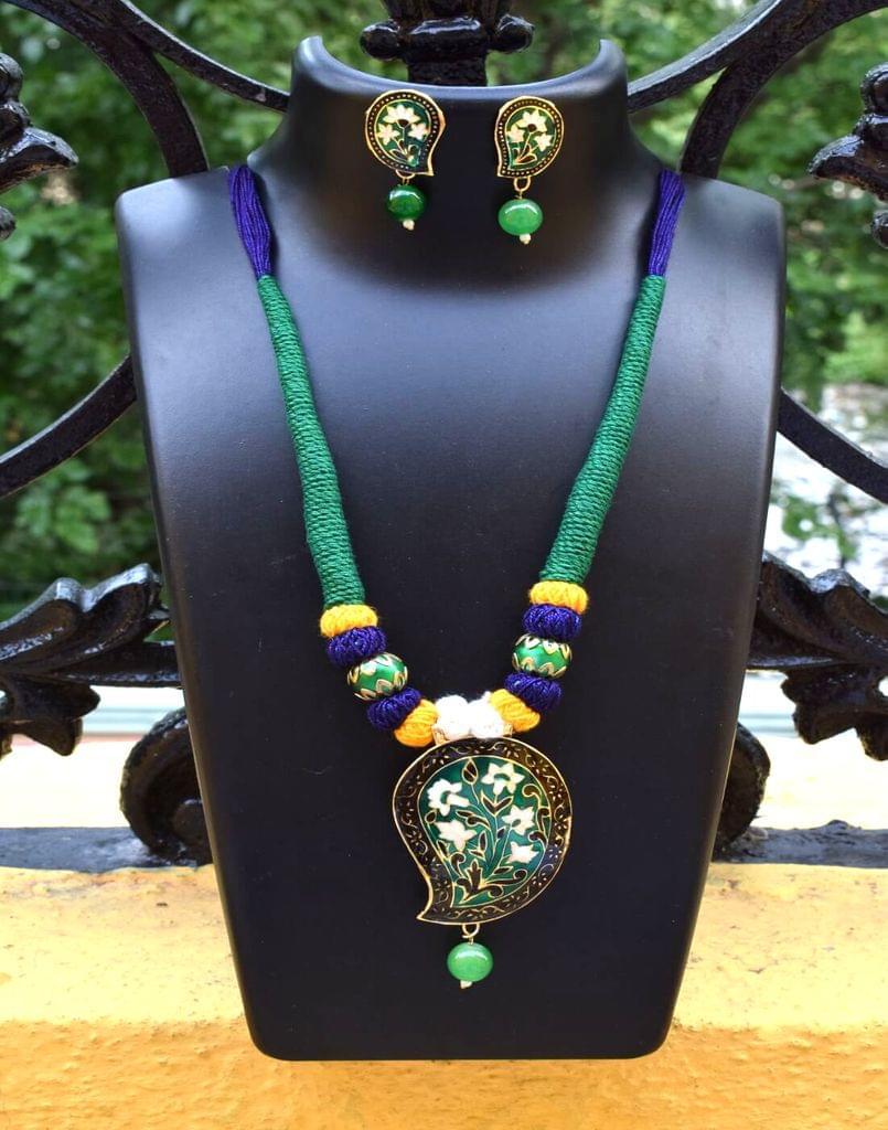 Threaded Meenakari Necklace Set- Pattern 17
