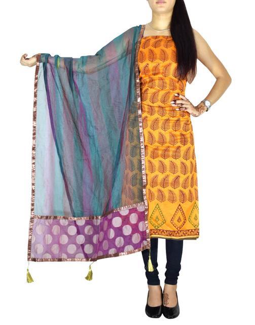 Unstitched Maheshwari Kurta & Chanderi Dupatta -Yellow