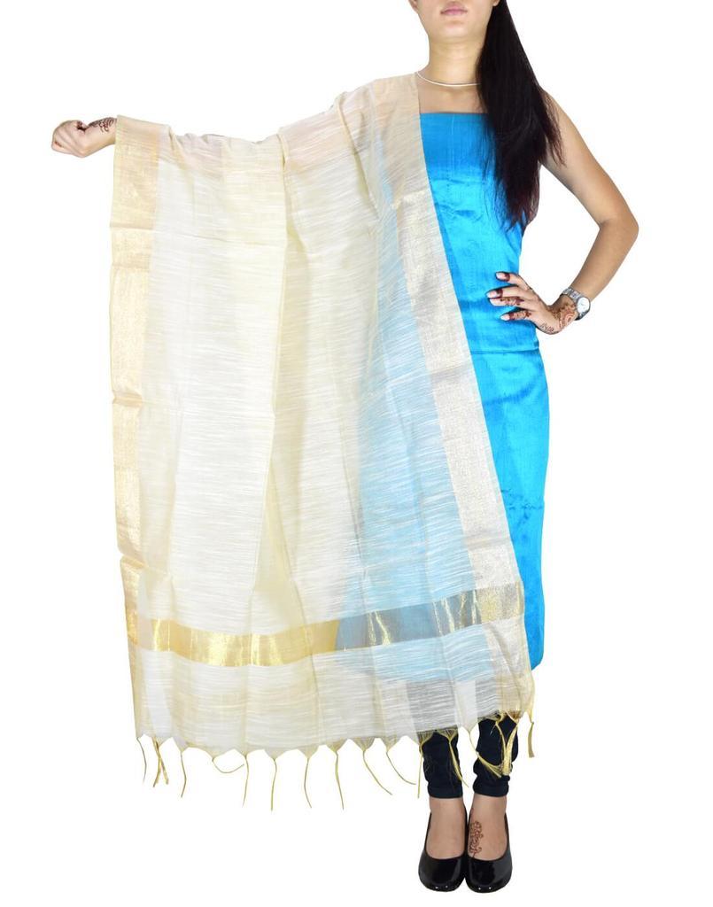 Unstitched Raw Silk Kurta & Cotton Silk Dupatta Set-Turquoise&Cream