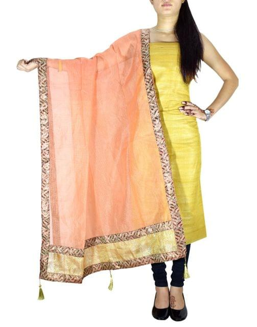 Unstitched Raw Silk Kurta & Chanderi Dupatta Set-Mustard&Peach