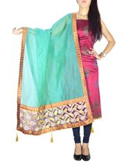 Unstitched Maheshwari Kurta & Chanderi Dupatta -Maroon&Green