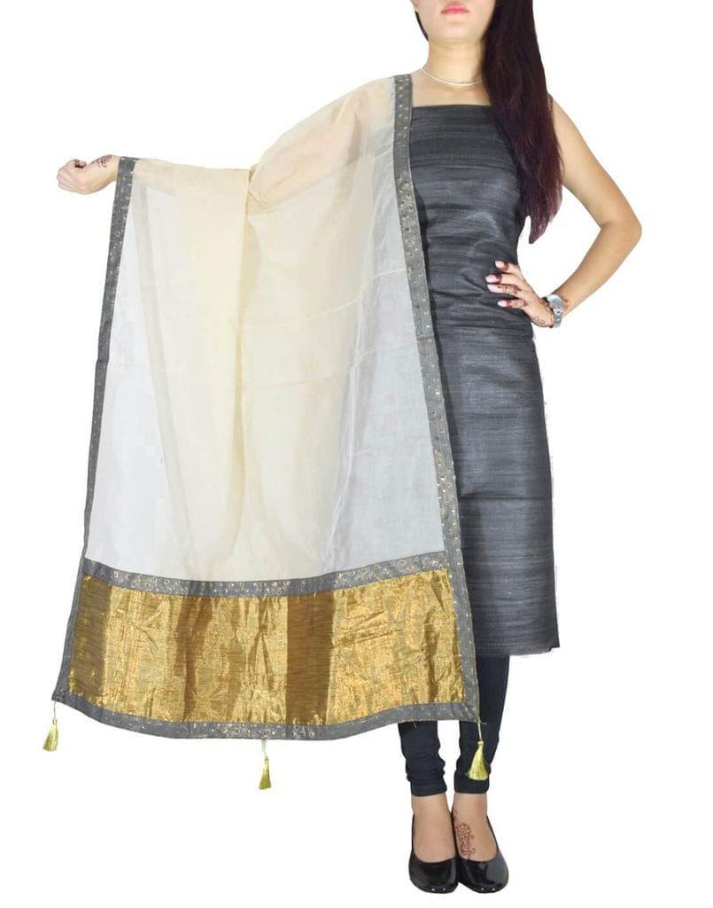 Unstitched Raw Silk Kurta & Chanderi Dupatta Set-Black&Cream