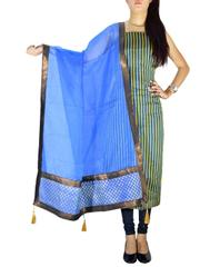 Unstitched Maheshwari Kurta & Chanderi Dupatta -Blue