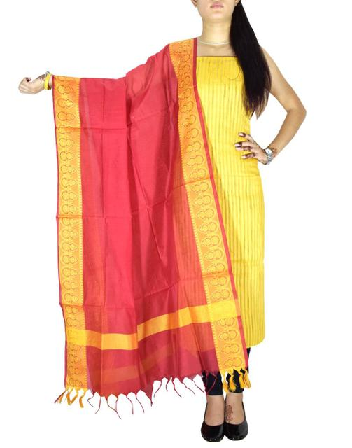 Unstitched Matka Silk Kurta and Cotton Silk Dupatta- Yellow&Red